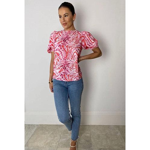 Girl in Mind - Puff sleeve zebra print top - Pink