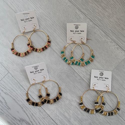 Multi - Beaded hoop drop earrings