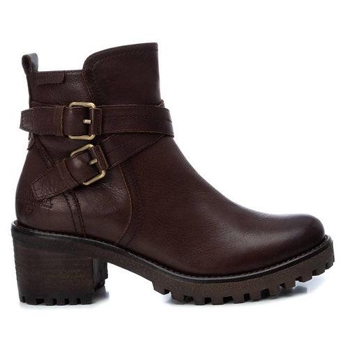 Carmela - Brown buckle heeled boot