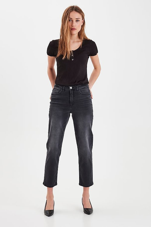 ICHI - Straight fit ankle jeans - Grey wash