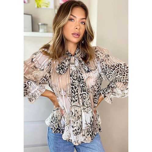 Girl in mind - Mix print bow tie top