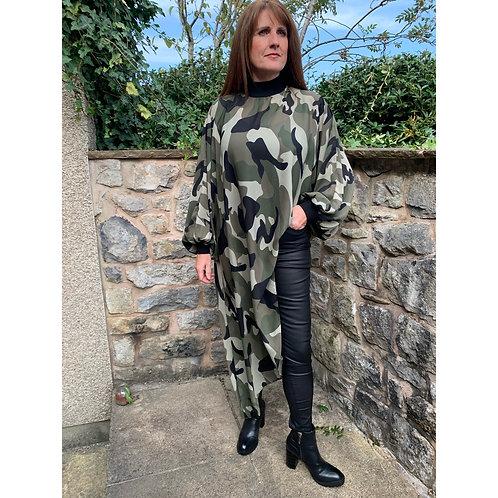 Malissa J - Hi neck camouflage top