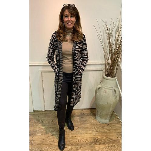 Rino & Pelle - Zebra print knitted long coatigan