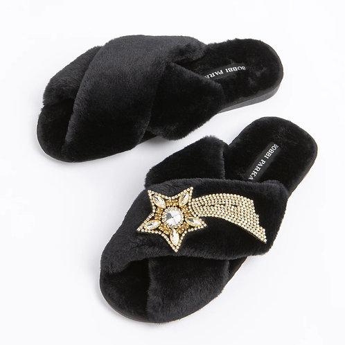Bobbi Parka - Black faux fur slipper - Shooting Star