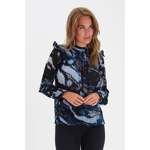 B.Young - Printed frill detail blouse