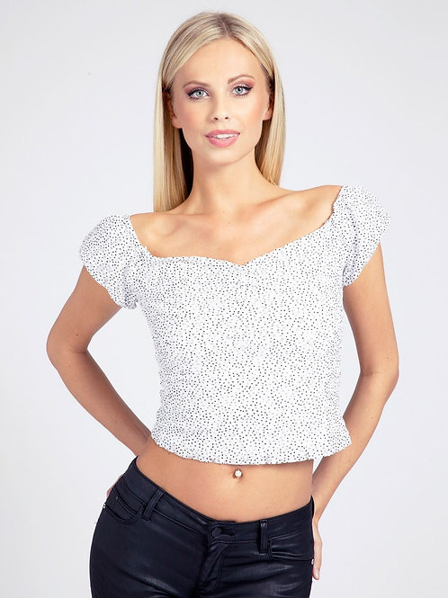 GUESS - Lace puff sleeve shorter top