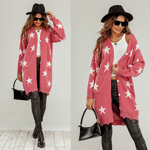 Long star print cardigan