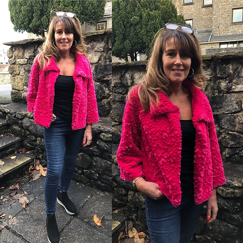 Jayley - Hot Pink faux fur jacket