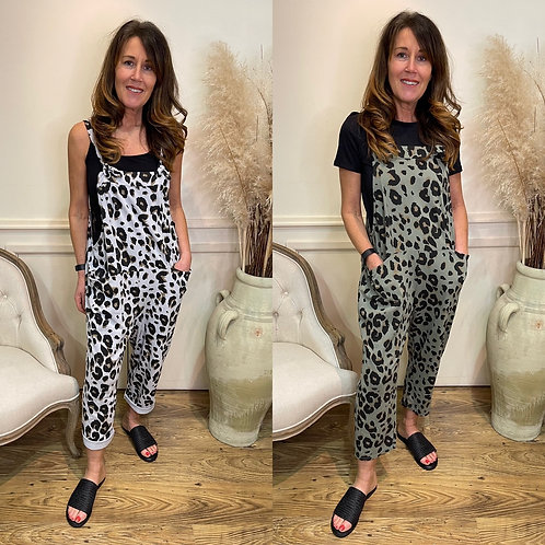Printed jersey dungarees