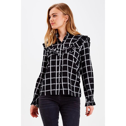 B.Young - Check frill detail shirt