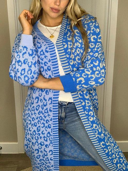 Girl in mind - Leopard print cardi BLUE