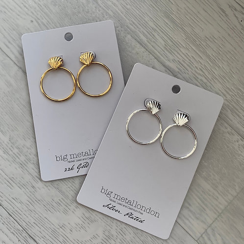 Big metal - Shell hoop earrings