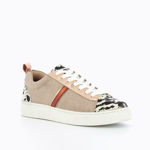 Vanessa Wu -  TAUPE SNEAKERS WITH COW-PRINT DETAILING