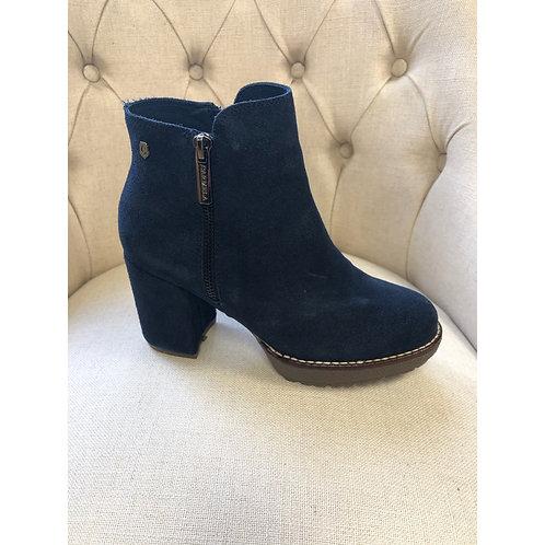 Carmela navy suede chunky boot