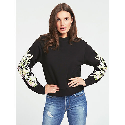 GUESS - 'Soren Fleece' Logo floral sleeve sweater