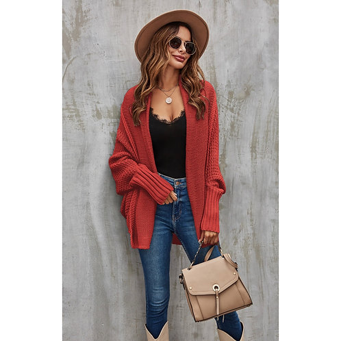 Oversized chunky knitted cardi - Rust