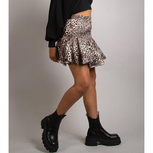 Beige leopard swing skirt