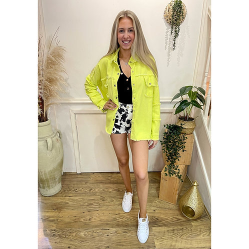 Distressed denim jacket - Lime