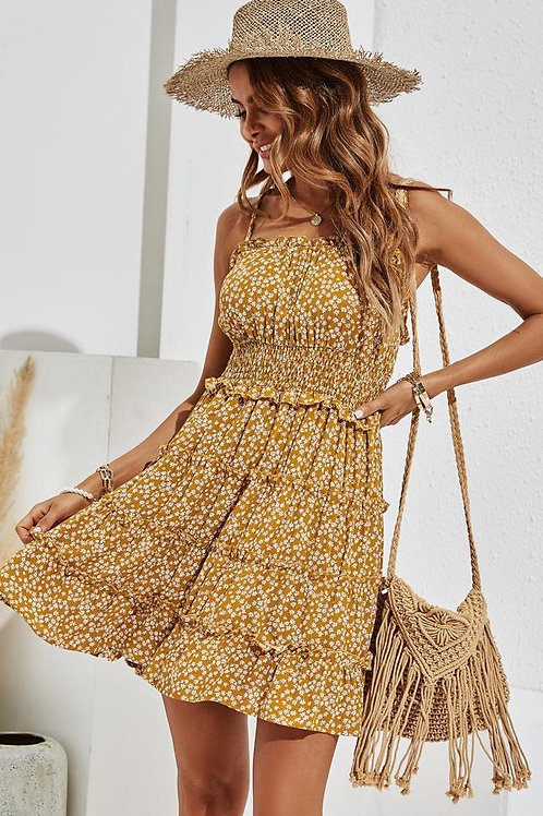 Smock top fit and flare mini dress