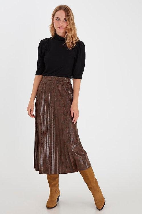 B.Young - Snake print pleated midi skirt