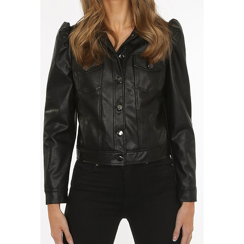 Faux leather puff sleeve Shacket/Jacket