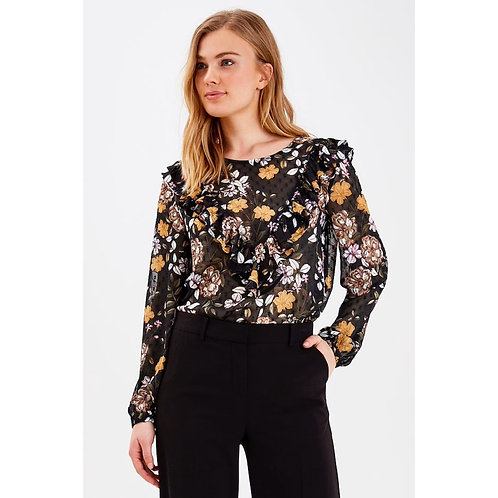 B.Young - Floral print frill detail top