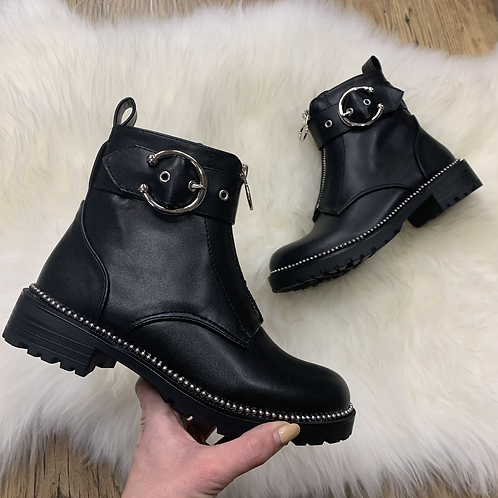 Stud and Buckle detail ankle boot
