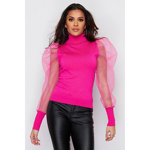 Girl in Mind - Pink organza sleeve knitted top
