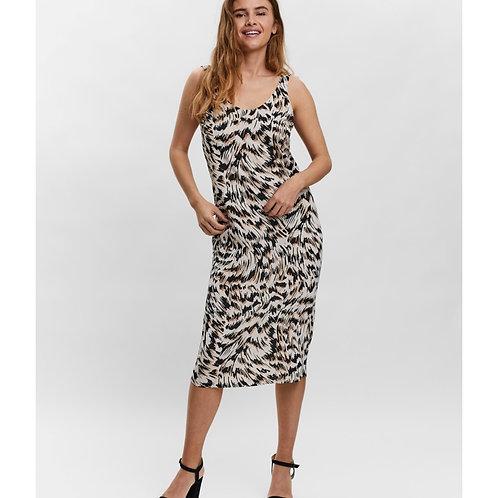 Vero Moda - Printed knot back dress - Beige Mix