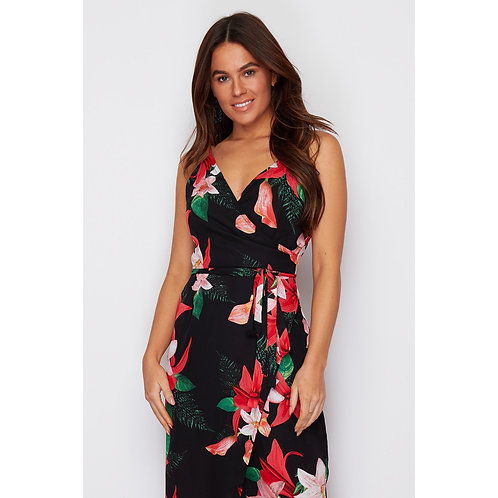 Wrap style Maxi Dress - Black/Red Floral Print
