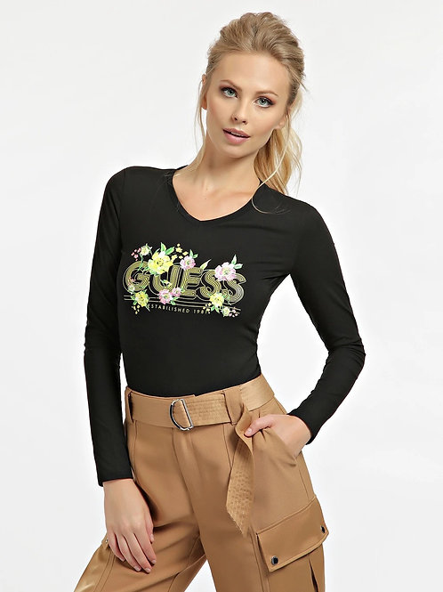 GUESS - Long sleeve floral logo top