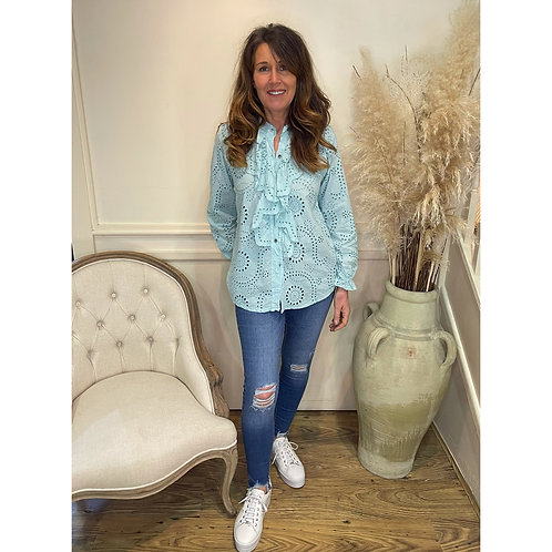 Broderie Anglaise frill front blouse