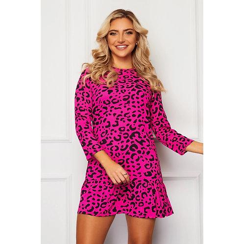 Girl in mind - CHLOE 3/4 Sleeve Hem Detail Mini Dress Pink Leopard