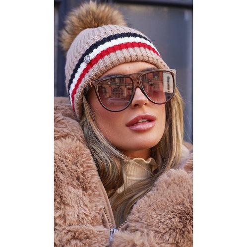 Luxy London - ASTON MERINO WOOL POM POM HAT - OATMEAL