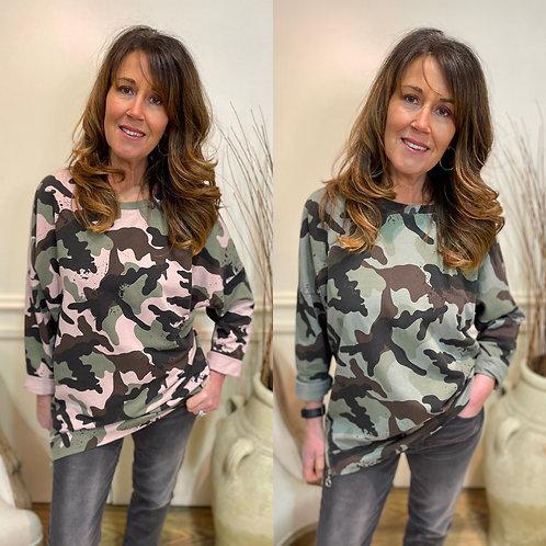 Camo double zip oversized sweatshirt