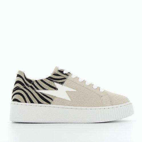 Vanessa Wu - 2302 Grey/Beige and zebra bi-material lightning sneakers