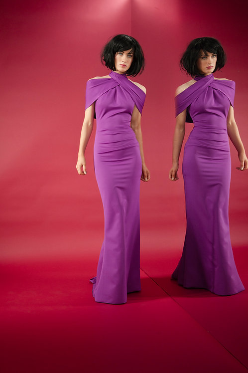 Kevan Jon Akash Purple Maxi ball dress