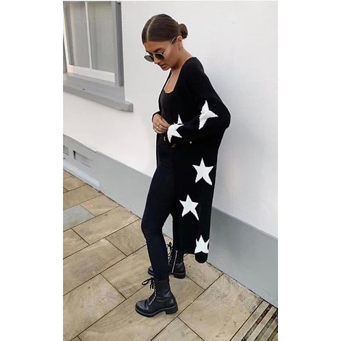 Star print fine knit long cardi