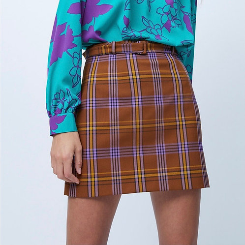 French Connection - Checked belted skirt