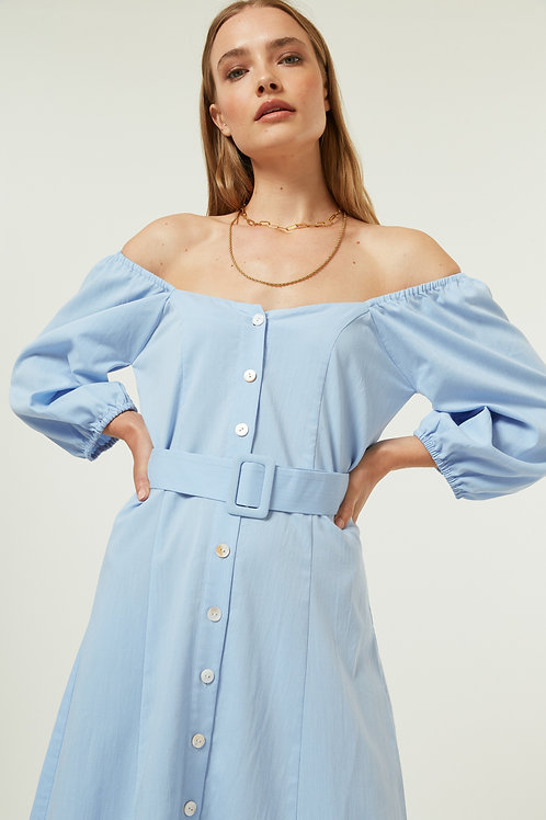 Jovonna - ALZOU Belted button front dress