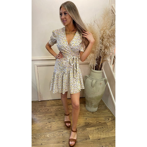 Ditsy print wrap style dress