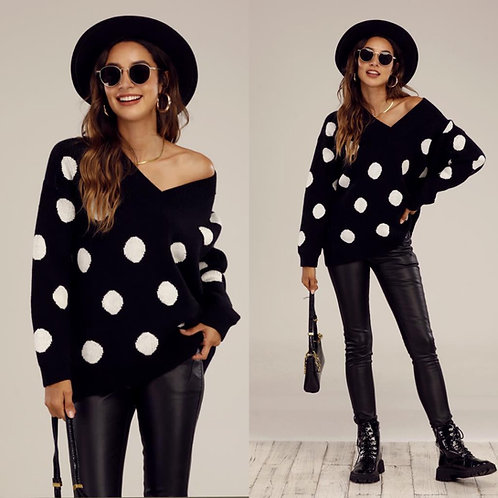 Polka dot v neck jumper