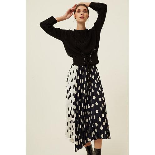Jovonna - HARMUR Pleated polka dot skirt