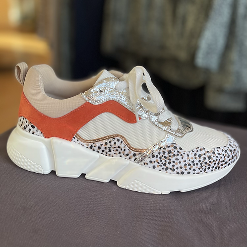 Vanessa Wu - Mesh detail trainers with leopard print