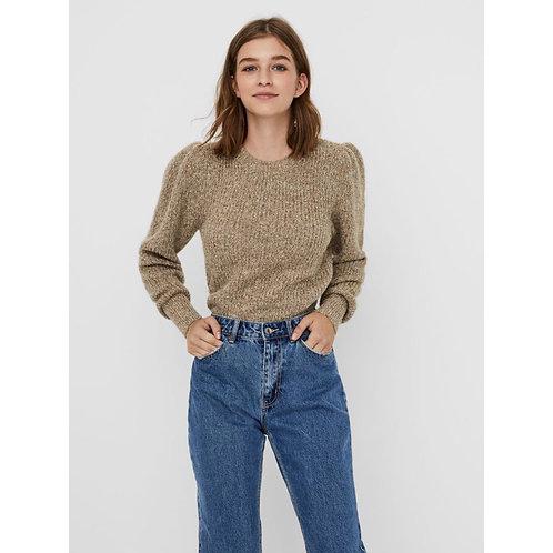 Vero Moda - Beige fleck puff sleeve jumper