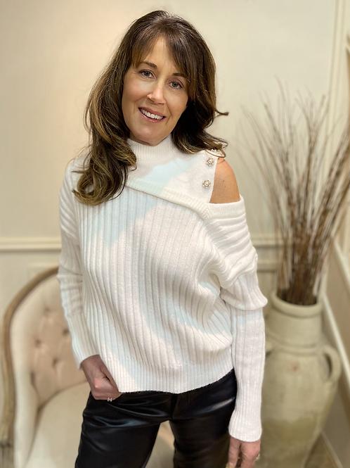 Ribbed cold shoulder knit
