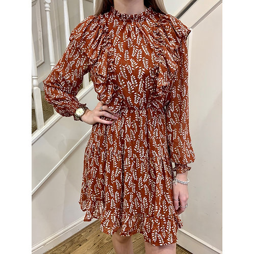 Frill detail floral dress - Rust