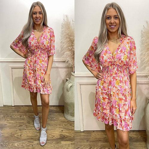 Multi print chiffon dress