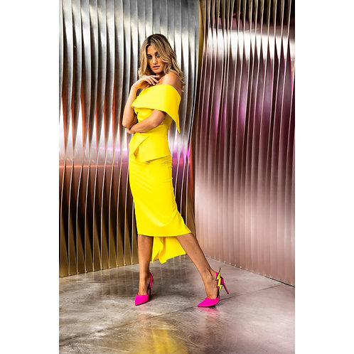 Kevan Jon - ' QUEENIE' Peplum knee dress - Bright Yellow