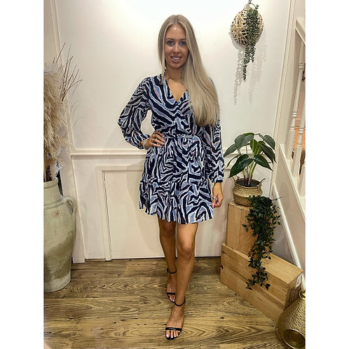 Zebra print v.neck dress - Navy